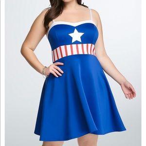 Torrid captain America size 1 marvel dress blue